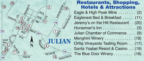 Map Of Julian California.Jeremy S On The Hill Is Julian S California Style Bistro With A